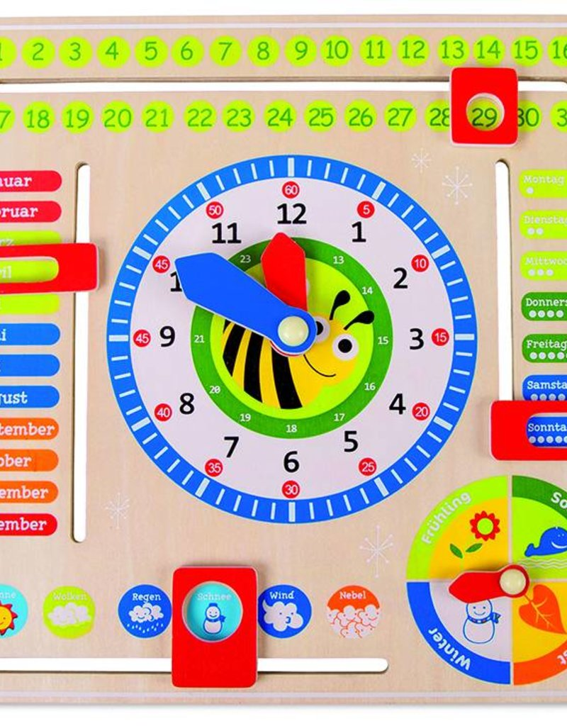 Date, Time and Season Learning Board GER