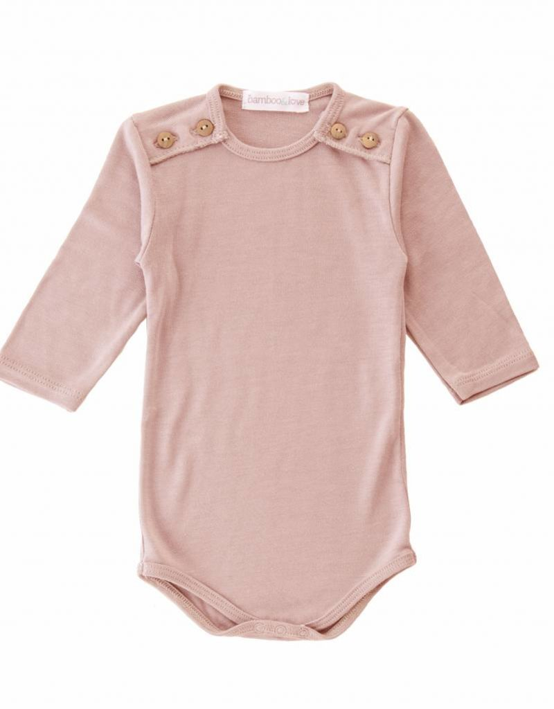 Bamboo & Love  AW17-TP40 BODYSUIT BUTTONS C02 - DUSTY PINK
