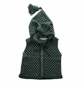 Bamboo & Love  AW17-KV03 KNIT VEST W/ HOODIE C23 - PICKLE DOTS GREEN + PEARL