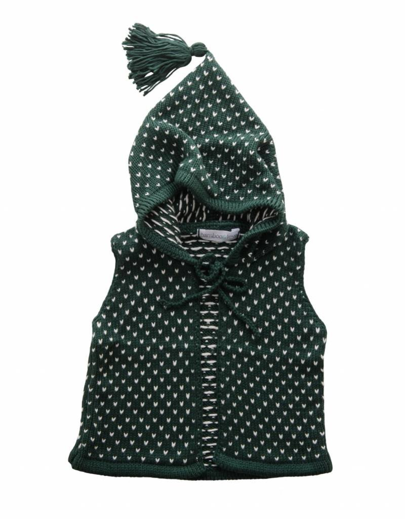 Bamboo & Love  AW17-KV03 KNIT VEST W/ HOODIE C23 - PICKLE DOTS GREEN + PEARL -20%