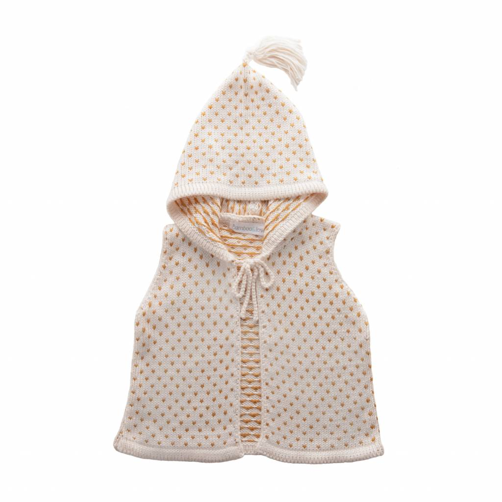 Bamboo & Love  AW17-KV03 KNIT VEST W/ HOODIE C24 - PICKLE DOTS PEARL + CAMEL