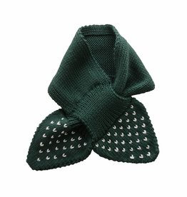Bamboo & Love  AW17-AC37 KNIT SCARF PICKLE DOTS C19 - BOTTLE GREEN -50%