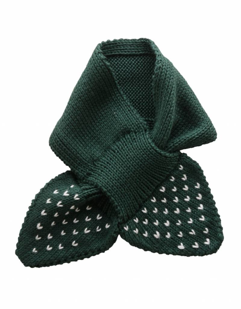 Bamboo & Love  AW17-AC37 KNIT SCARF PICKLE DOTS C19 - BOTTLE GREEN
