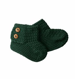 Bamboo & Love  6 KNIT BOOTIES 2 C19 - BOTTLE GREEN