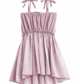 Tocoto Vintage Knitted cotton linen dress + voile pink