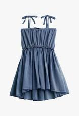 Tocoto Vintage  Knitted cotton linen dress + voile  blue