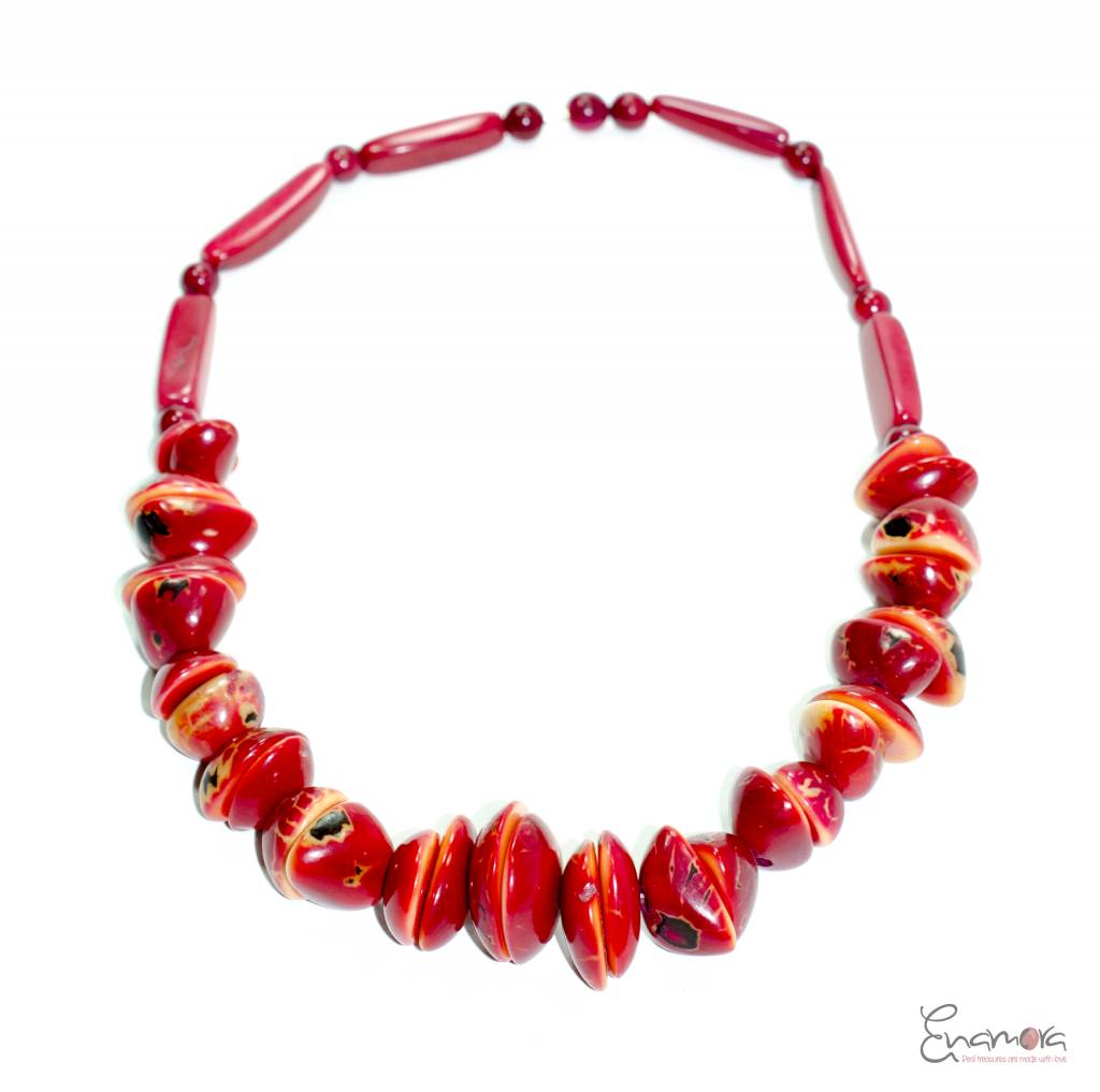 Enamora Eco-chic red tagua necklace