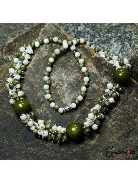Enamora Green and White Tagua parel sieraden set