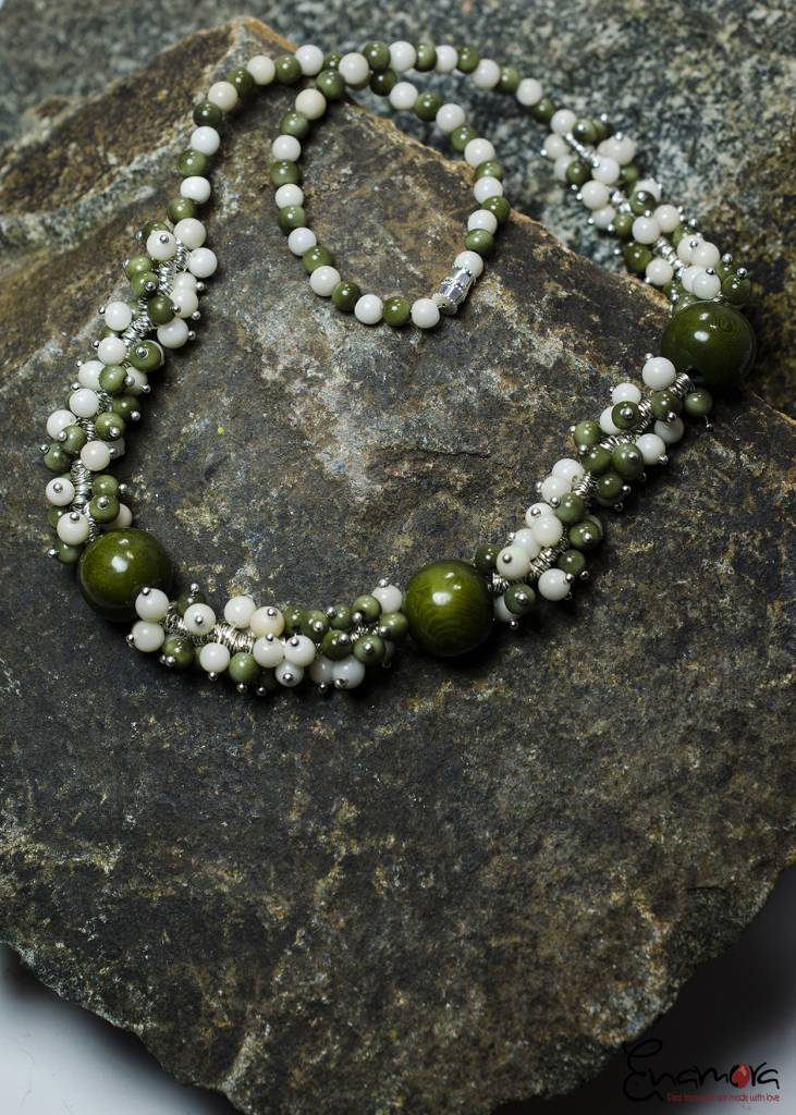 Enamora Green and White Tagua pearls jewelry set