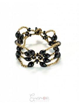 Enamora Black San Pedro Seed Flowers Bracelet