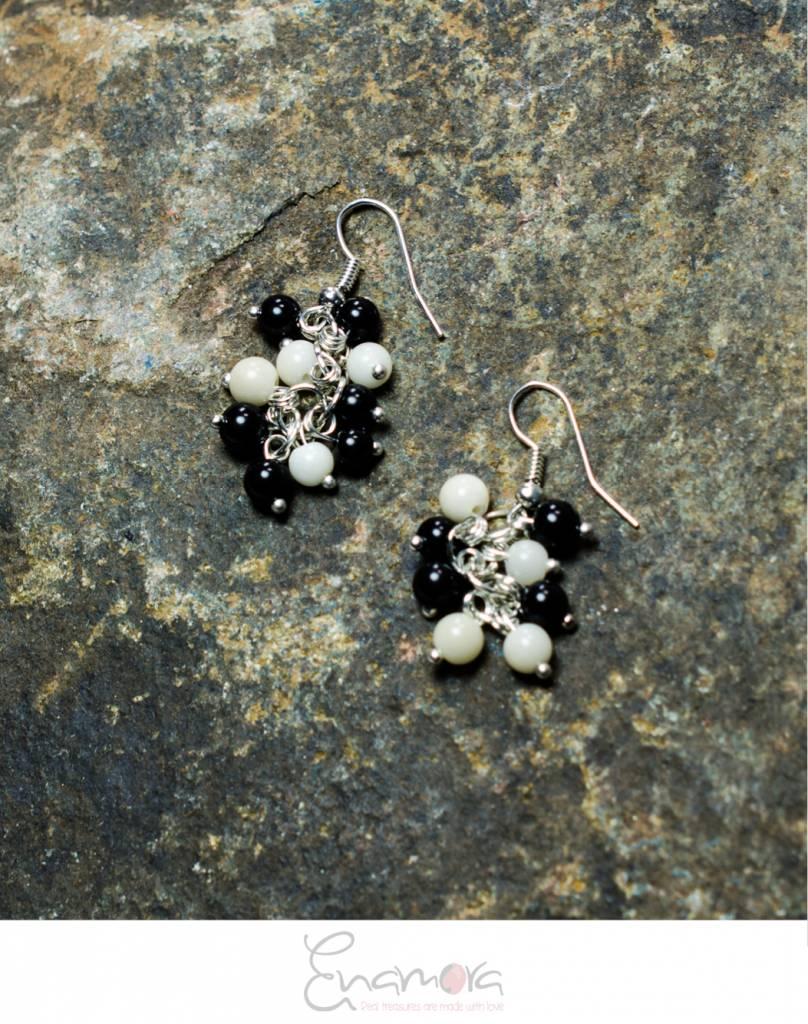 Enamora White and Black Tagua pearls jewelry