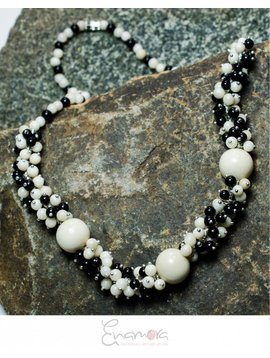 Enamora White and Black Tagua pearls jewelry