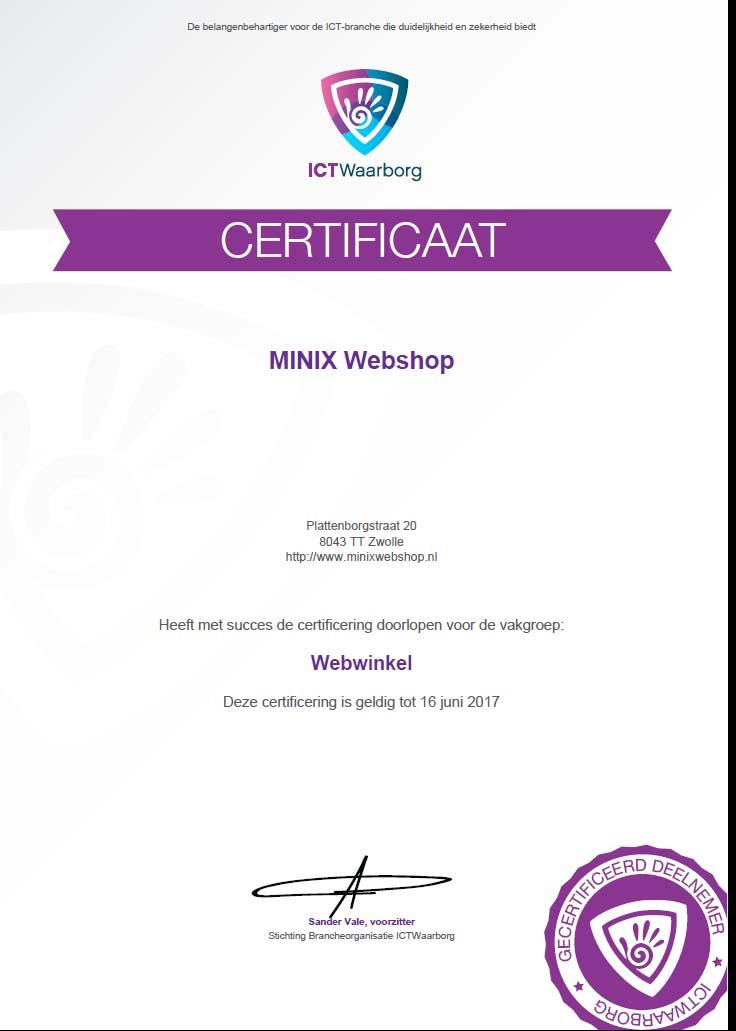 ICTWaarborg certificaat MINIX Webshhop