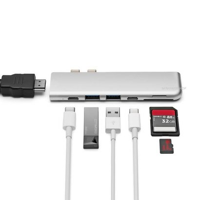 MINIX NEO C D USB-C Multiport Adapter voor MacBook Pro zilver