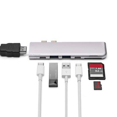 MINIX NEO C D USB-C Multiport Adapter voor MacBook Pro grijs