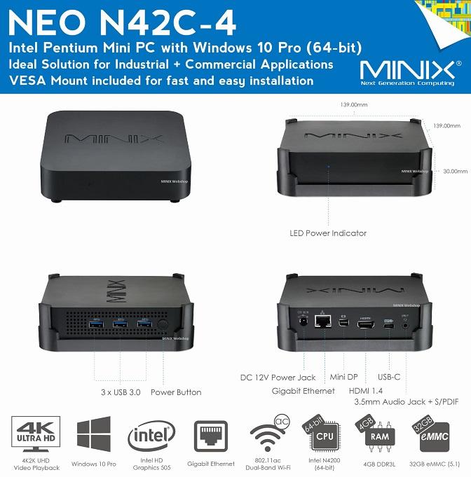 MINIX NEO N42C-4 Intel pentium N4200
