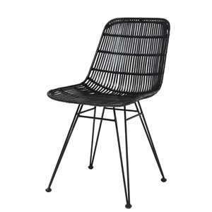HKliving Dining Chair Rattan black
