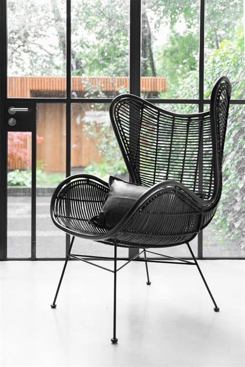 Hkliving Chair Egg Rattan Black Orangehaus