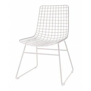 HKliving Draadstoel Metaal wit Set van 2