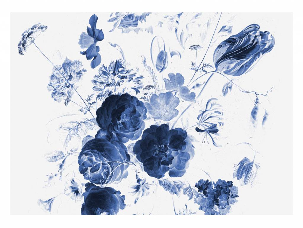 Kek Amsterdam Photo Wallpaper Royal Blue Flowers I Orangehaus