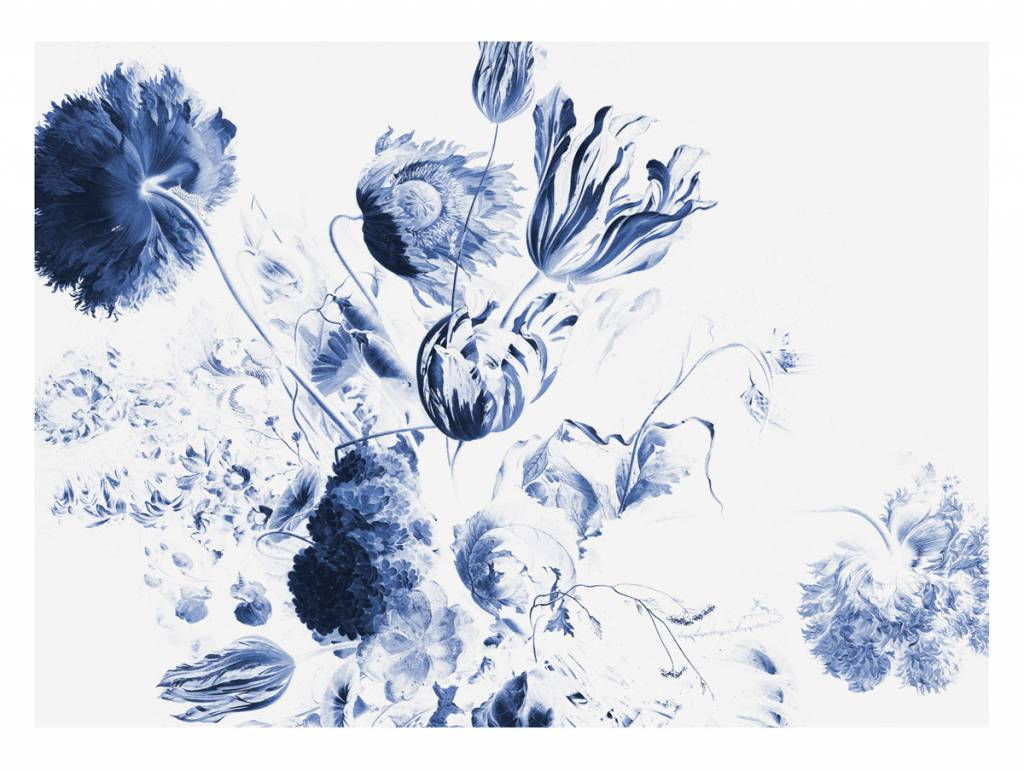 Kek Amsterdam Photo Wallpaper Royal Blue Flowers Ii Orangehaus