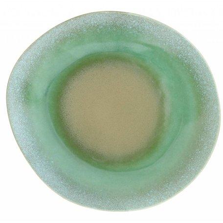 Teller Abendessen 70's Keramik grün