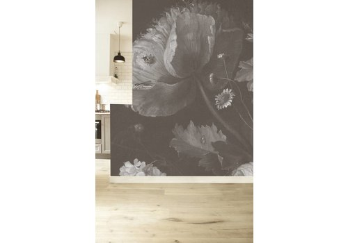 KEK Amsterdam Photo Wallpaper 'Big black & white flowers I'