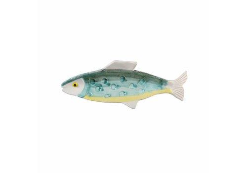 &Klevering Anouk Fisch Teller grün gelb 31x11cm