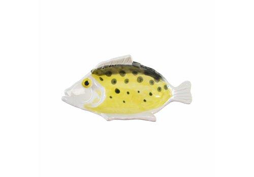 &Klevering Anouk Fisch Teller klein gelb schwarz 16,5x9cm