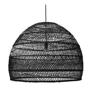 HKliving Hanglamp handgevlochten riet zwart - 80cm