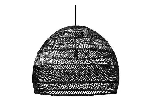 HKliving Hanging lamp wicker black - 80cm