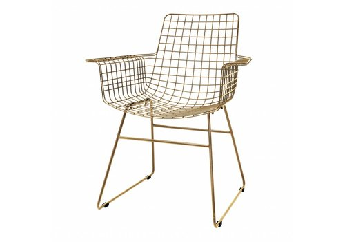 HKliving Wire chair with arms metal brass
