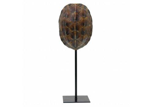 HKliving Schildkrötenpanzer Kunstharz auf Fuß schwarz 11x10x26,5cm