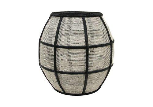 HKliving Lantaarn bol bamboe met stof zwart naturel 29,5x29,5x30,5cm