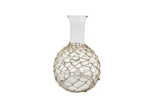 HKliving Carafe glass with wicker 19x19x27,5cm