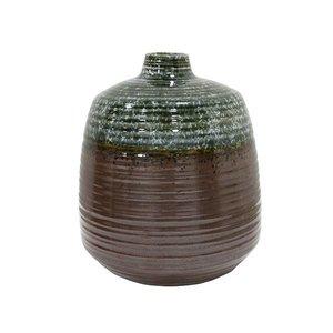 HKliving Vase handgefertigt Keramik grün braun 16x16x19,4cm