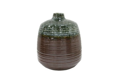 HKliving Vase handmade ceramic green brown 16x16x19,4cm