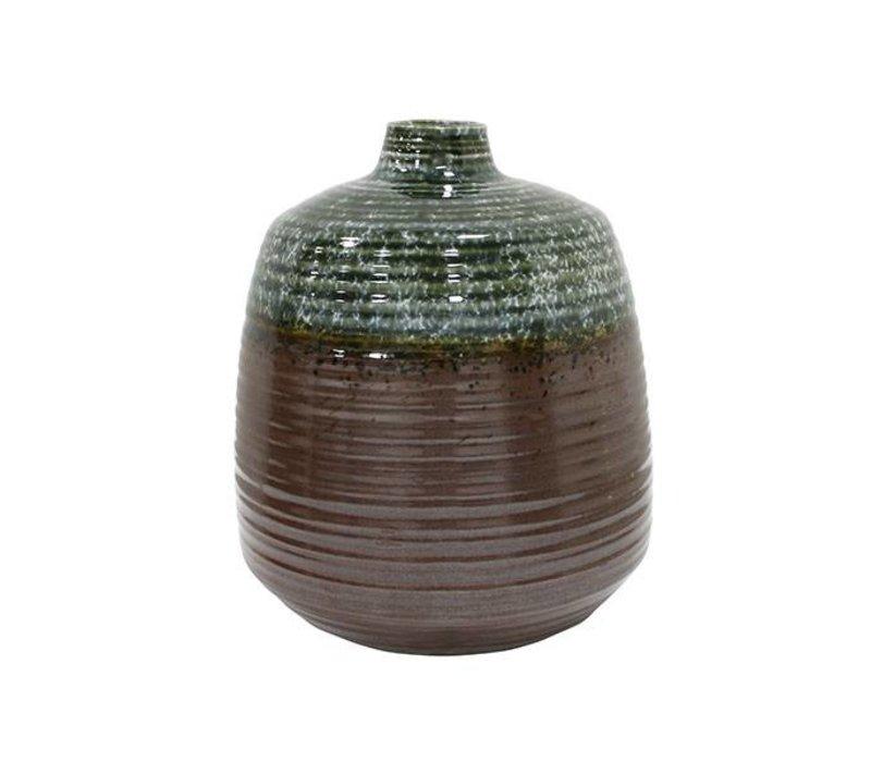 hkliving vase handgefertigt keramik gr n braun 16x16x19. Black Bedroom Furniture Sets. Home Design Ideas