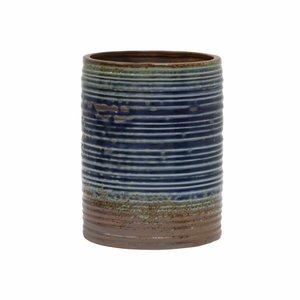 HKliving Bloempot handgemaakt blauw bruin keramiek 15,5x15,5x20cm