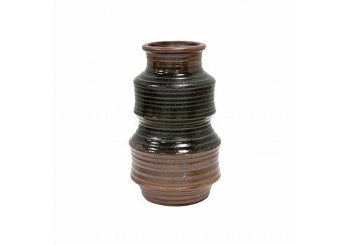 HKliving Vase handmade ceramic retro brown 12x12x20cm