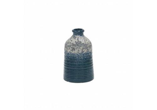 HKliving Vaas S handgemaakt keramiek blauw 8,2x8,2x12,8cm