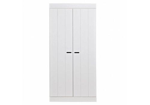 WOOOD Garderobekast Connect stroken 2 deurs wit