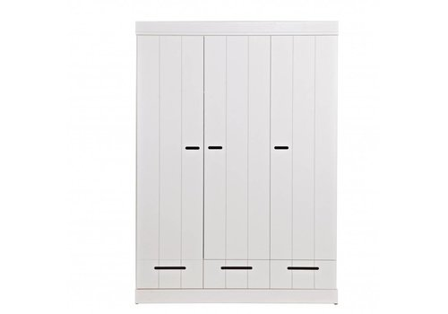 WOOOD Garderobekast Connect Stroken 3 deurs en 3 lades wit 195x140x53cm