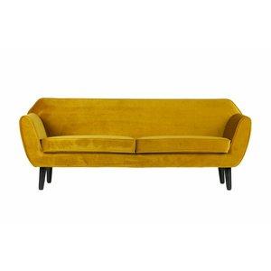 WOOOD Sofa Rocco Polyester Samt ocker gelb