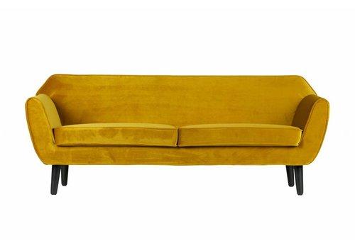 WOOOD Sofa Rocco polyester fluweel geel