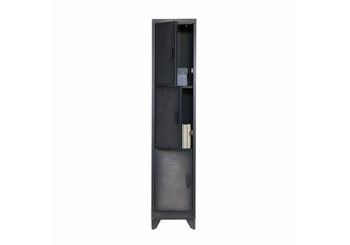 WOOOD Lockerkast Cas 3 deurs metaal zwart