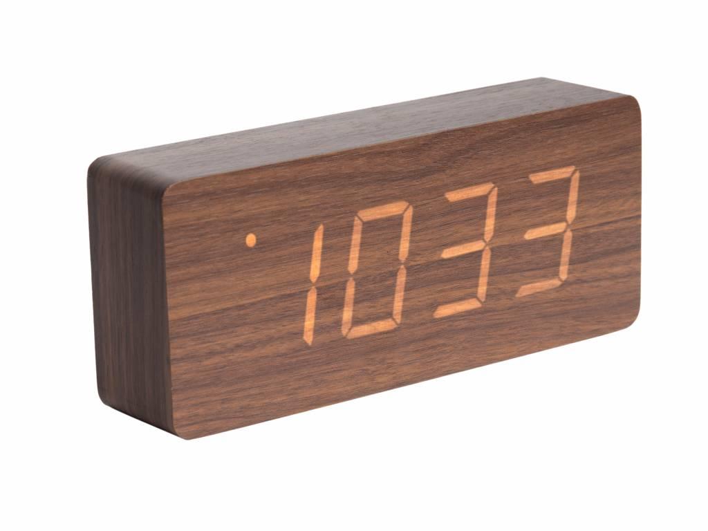 karlsson tischuhr wecker tube holz braun orangehaus. Black Bedroom Furniture Sets. Home Design Ideas