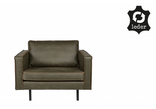 BePureHome Fauteuil Rodeo recycle leer army groen