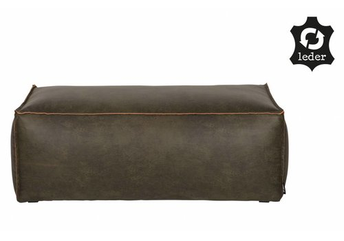 BePureHome Pouf Rodeo recycle leather army green