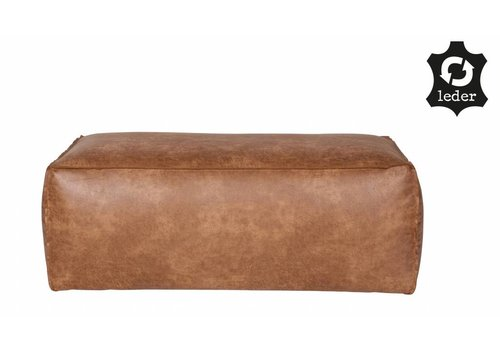 BePureHome Pouf Rodeo recycle leather cognac brown